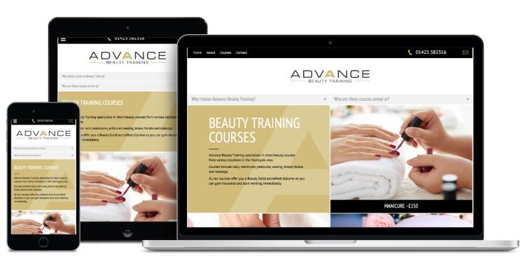 Website Design - Advance Beauty Training Harrogate